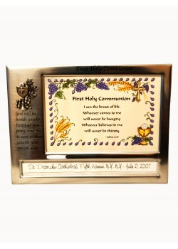 Communion Photo Frame in Satin Silver metal finish