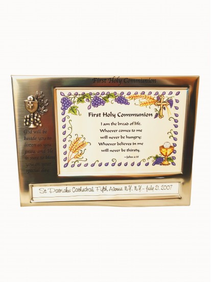 Communion Photo Frame in Satin Silver metal finish...