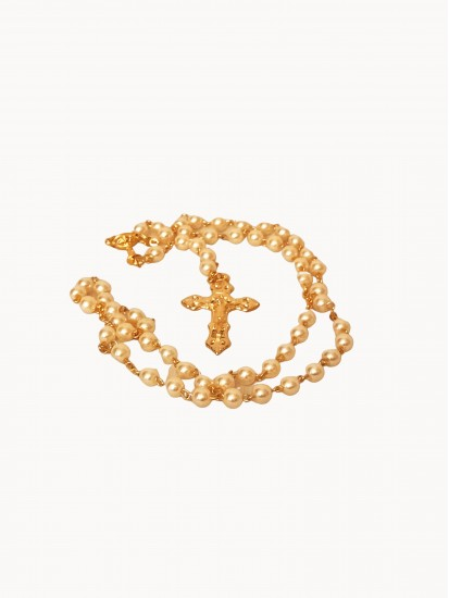 White Rosary with Gold links...