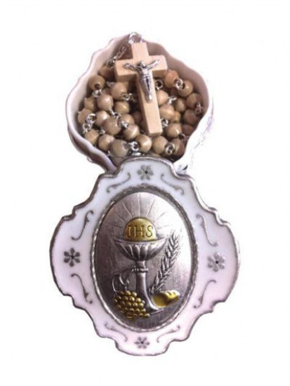 Wooden Rosary with silver links...