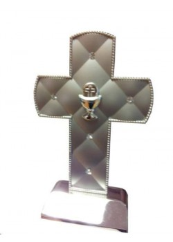Silver studded Cross with Communion motif
