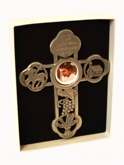 Pewter Cross with Communion motif...