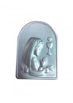 Girl Silver Plated Plaque on wood base