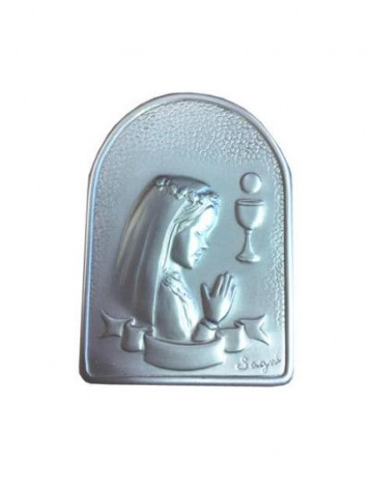 Girl Silver Plated Plaque on wood base...