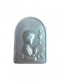 Boy Silver Plated Plaque on wood base