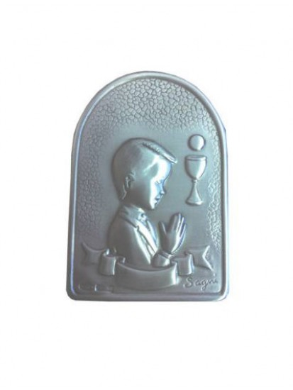Boy Silver Plated Plaque on wood base...