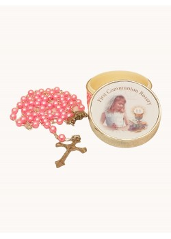 Imitation Pearl Rosary Pink Glass in a Silver Plated Metal Girl Box
