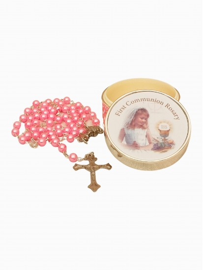 Imitation Pearl Rosary Pink Glass in a Silver Plated Metal Girl Box...