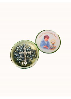 Imitation Pearl Rosary Blue Glass in a Silver Plated Metal Boy Box
