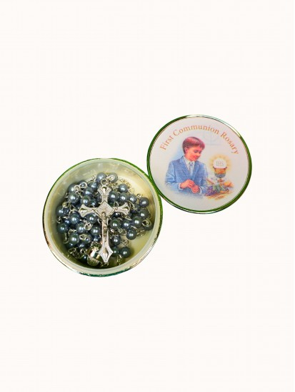 Imitation Pearl Rosary Blue Glass in a Silver Plated Metal Boy Box...