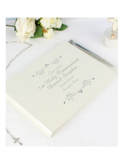 Guest Book & Pen Ideal Gift for First Holy Communions, Christenings & Weddi...