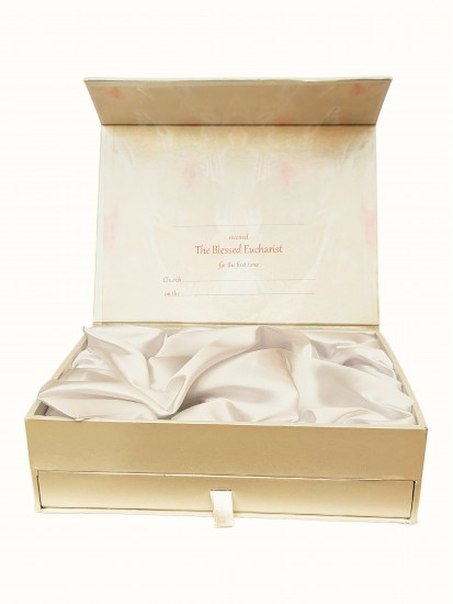 First Holy Communion Keepsake box with velvet/satin finish...