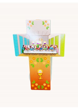 Hanging Wooden Cross with illustration of the Last Supper: Lovely First Communion Gift