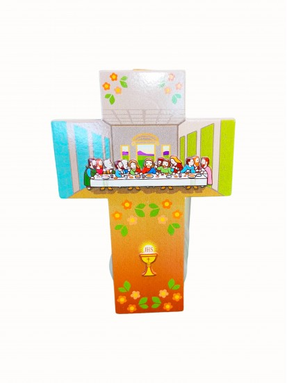 Hanging Wooden Cross with illustration of the Last Supper: Lovely First Com...