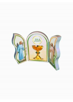A folding Triptych wooded plaque: Will make a lovely gift for First Holy Communion