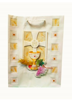 Large Communion Gift Bag with a 3D motif 26 x 34: Make your chosen Holy Communion Gift stand out.
