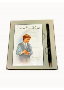 First Communion Gift Set for a Boy with My First Missal and a black Pen:
