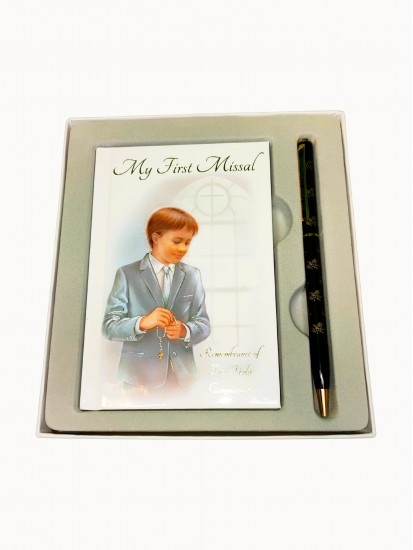 First Communion Gift Set for a Boy with My First Missal and a black Pen:...