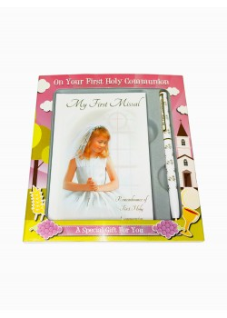 Holy Communion Gift Set for a Girl with My First Missal and a white Pen