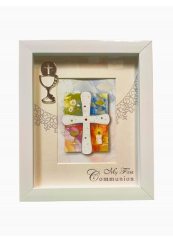 Wood box style Photoframe  with Chalice: Ideal Gifts for an 8/9 year old's Holy Communion Day