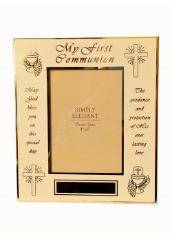 Lovely Glass Photoframe which takes 6x4 photograph with a Communion Verse
