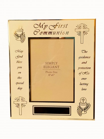 Lovely Glass Photoframe which takes 6 x 4 photographs with a Communion Vers...