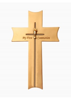 Hanging Ceramic Cross with a Chalice Motif for First Communion