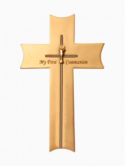 Hanging Ceramic Cross with a Chalice Motif for First Communion...