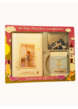 Communion Gift Set for Boy with Rosary & Chain