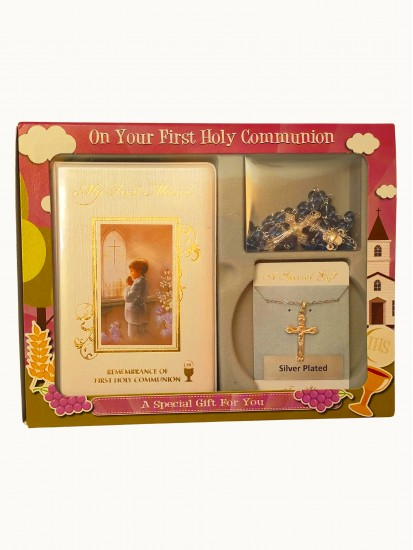 First Communion Gift Set for Boy with Rosary & Chain...