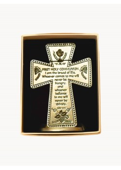 Small Pewter Cross with lovely Communion Verse: