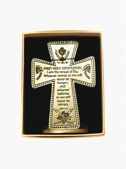 Small Pewter Cross with lovely Communion Verse:...