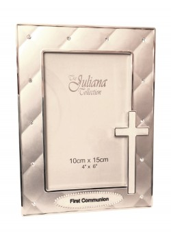 Studded Silver Photoframe which takes 6 x 4 photograph with a Pearl Cross