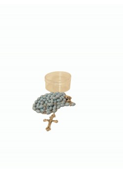 Plain Blue Holy Communion Rosary in clear round Plastic box