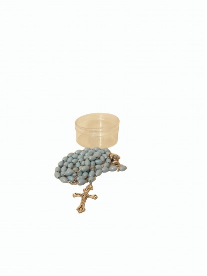 Plain Blue Holy Communion Rosary in clear round Plastic box...