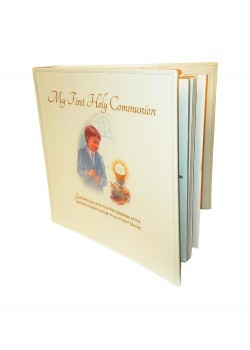 Boy Photo Album which holds up to 96 6x4 photographs: with a tag to write a short description and other details of the First Communion Day