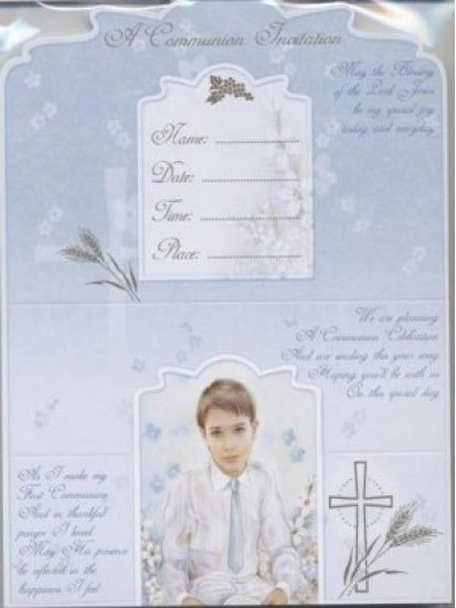 12x Boy First Holy Communion Invitations with Envelopes...