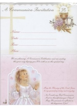 12x Girl  First Holy Communion Invitations with Envelopes