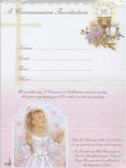 12x Girl  First Holy Communion Invitations with Envelopes...
