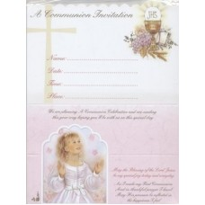 12 Girl  First Holy Communion Invitations with Envelopes