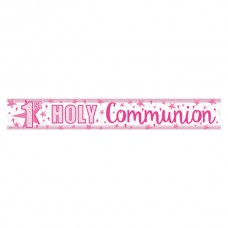 Foil Holographic First Holy Communion Banner in Pink 2.7m long
