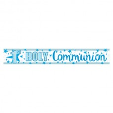 Foil Holographic First Holy Communion Banner in Blue 2.7m long