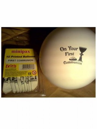 10x 8 inch White First Holy Communion Balloons...