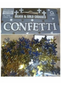 First Communion Table Confetti (Silver and Gold Crosses)