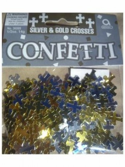 First Holy Communion Table Confetti (Silver and Gold Crosses)...