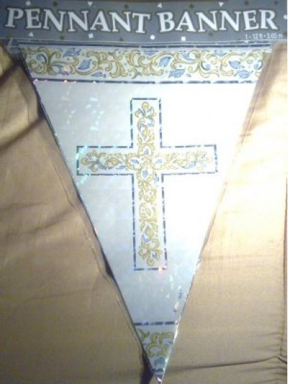 First Communion Blue or Pink Decorative Pennant Banner...