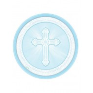 8x 9 inch Blue Paper Plates for First Holy Communion: