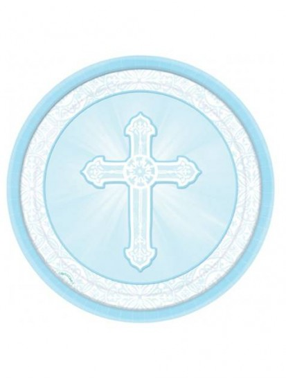 8x 9 inch Blue Paper Plates for First Holy Communion:...