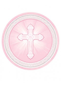 8x 9 inch Pink First Communion Paper Plates