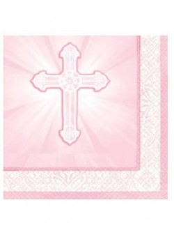16x Pink First Holy Communion Napkins